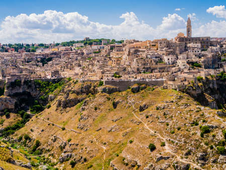 Panoramic view of the ancient town of Matera, Basilicata region, southern Italy