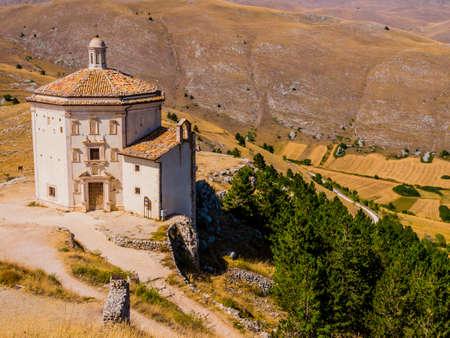 Church of Santa Maria della Pietà, a religious complex beside Rocca Calascio ruins, Gran Sasso National Park, Abruzzo region, Italy