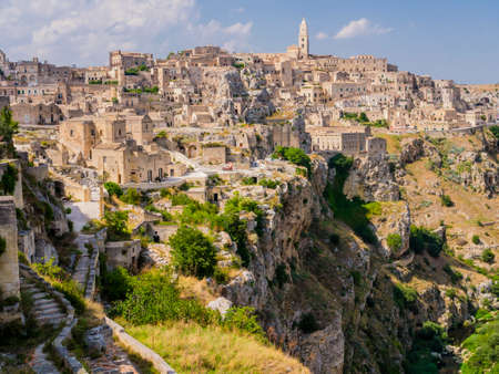 Wonderful view of the ancient town of Matera and its spectacular canyon, Basilicata region, southern Italy