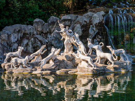 Detail of Diana and Actaeon fountain at the feet of the Grand cascade, Royal Palace of Caserta, Italy
