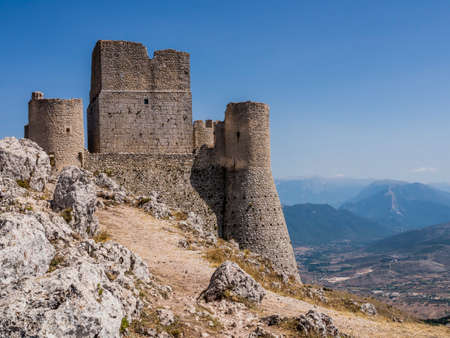 Impressive view of Rocca Calascio ruins, ancient medieval fortress in Gran Sasso National Park, Abruzzo region, Italy
