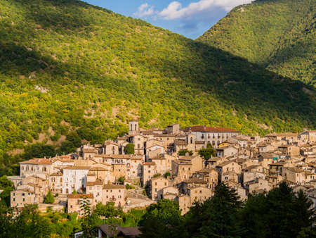 Impressive view of the medieval village of Scanno, nestled in the mountains of the Abruzzo National Park, central Italy
