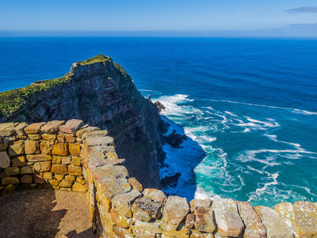 Stunning view of the rocky cliffs of Cape of Good Hope, South Africa