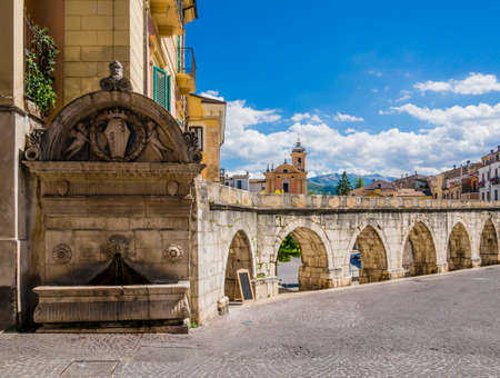 Stunning view of Sulmona historical center and its roman aqueduct, Abruzzo region, central Italy