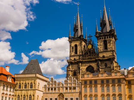Stunning architectures of Prague old town square with Church of Mother God before Tyn, Czech Republic Redakční