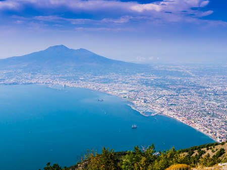 Panoramic view of Castellammare and Torre Annunziata di Stabia bay with mount Vesuvius in background, Naples, Italy Reklamní fotografie
