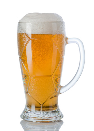 Glass of  light beerr on a white background