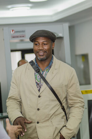 the heavyweight: DONETSK,UKRAINE-AUGUST 22: Absolute former world heavyweight champion Lennox Lewis in Donetsk airport on Pro Boxing Show XIV,  AUGUST 22, 2013 in Donetsk, Ukraine. Editorial