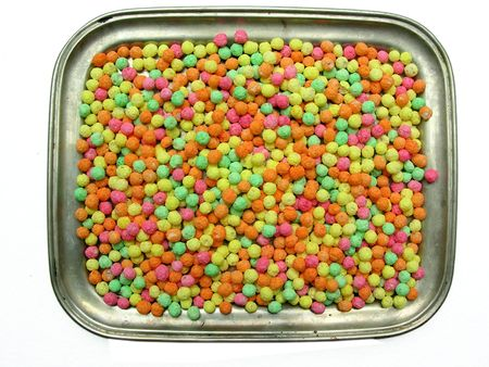 additional chemicals: multicolour sweetie tray Stock Photo