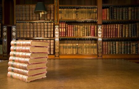 bibliophile: Old books in classic library series Stock Photo