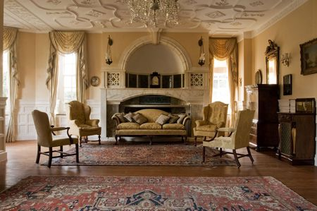 castle interior: Classic living room in a period mansion