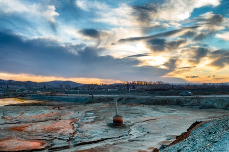 Land contaminated with copper processing waste products. Consequence of ecological catastrophe in the city of Karabash due to copper mining and processing. Dirtiest places on the planet. Greenpeace. Stock Photo