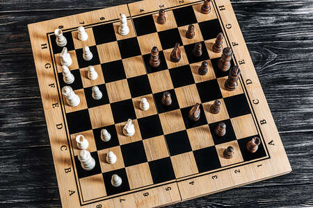 topview of a chess game. spanish opening variant. Moeller defense.
