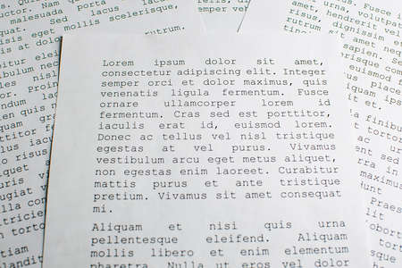 lorem ipsum dolor sit amet concept. selective focus photo of paper sheets with publishing and graphic design placeholder text on them. Zdjęcie Seryjne