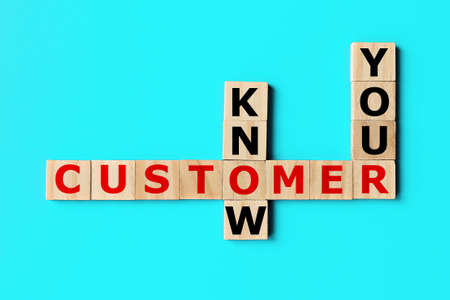 KYC, know your customer crossword concept. KYC - guidelines in financial services 写真素材