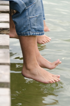 Soaking the feet of the pier photo