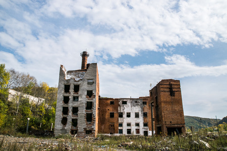 The old destroyed plant and buildings in which no one lives