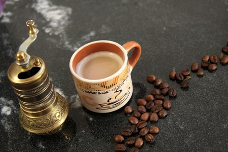 coffee beans and coffee grinder, antique Stock Photo - 11322644