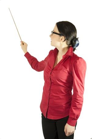 brunette girl in glasses teacher, librarian, strict Stock Photo - 11890674