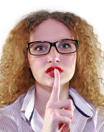 portrait of a girl in glasses asking for silence Stock Photo - 13684367