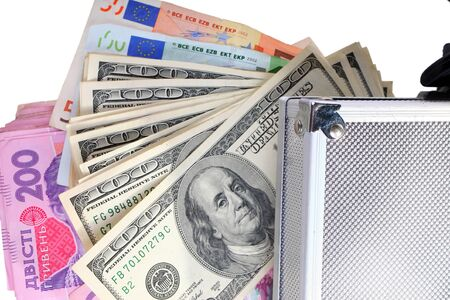 case with money on an isolated white background photo