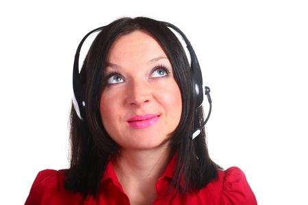 girl headphones: a girl headphones isolated white background Stock Photo