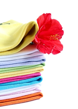 towels with a fresh scent isolated white background photo