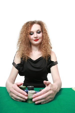 winning poker isolated white background photo
