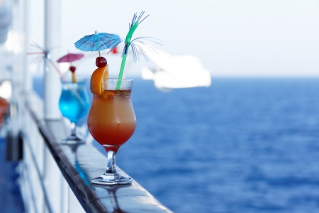 Cocktails on a cruise ship in the summer Stock Photo