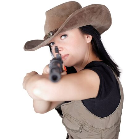 Woman with gun in hand isolated white background photo