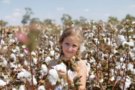 Portrait of a young girl in a field of cotton