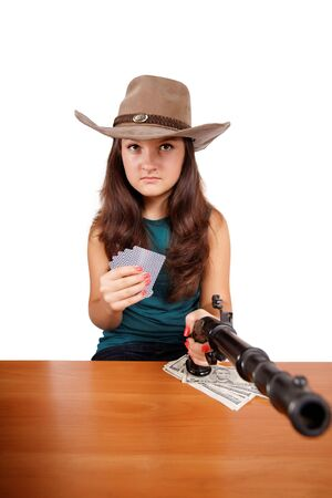 Cowboy girl with gun isolated on white background photo