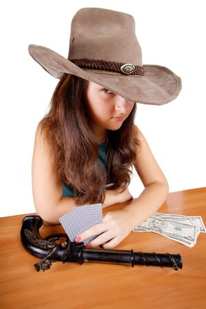 Cowboy girl with gun isolated  background photo