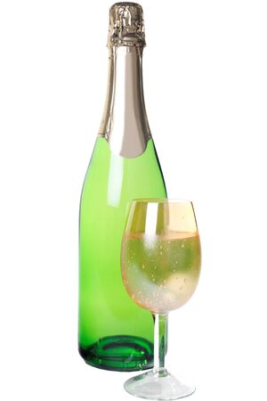 with a glass of champagne isolated Stock Photo - 15702718