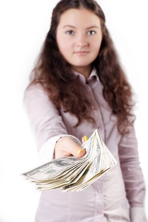portrait of a pretty brunette girl giving money isolated photo