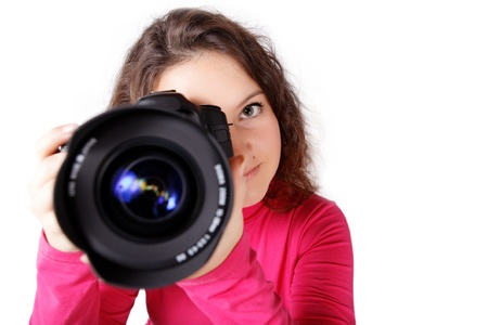 Now she will be shot with the camera on an isolated white background Stock Photo - 16334789