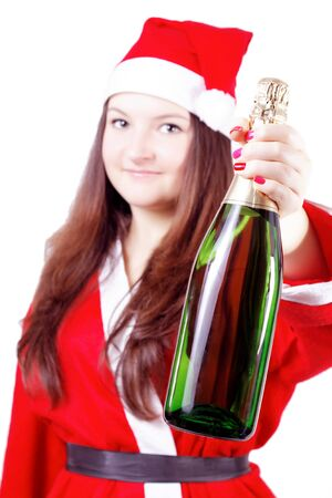 pretty young girl dressed as Santa offers champagne isolated photo