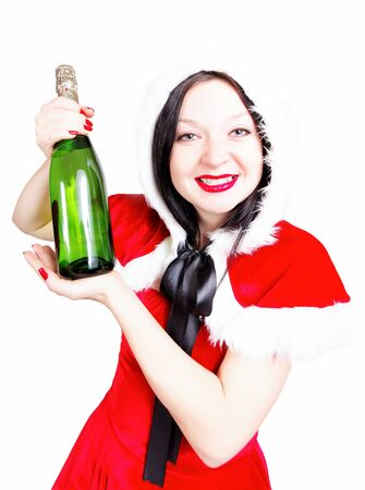 drink champagne at Christmas and the new year isolated photo