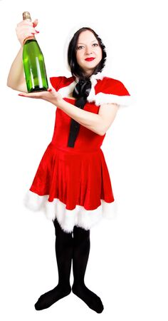 girl with champagne at Christmas isolated background photo