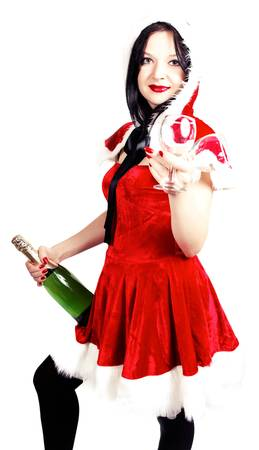 girl with champagne and glasses in Christmas isolated photo