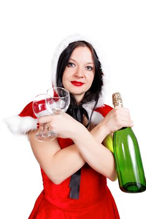 Girl celebrates Christmas with champagne isolated background photo