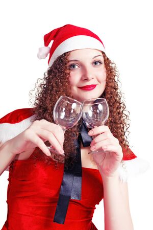 pretty curly girl as Santa with glasses isolated photo