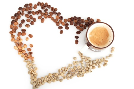 laid out coffee with love heart creative photo