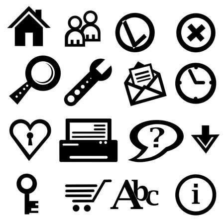 black icons set isolated on a white background Stock Photo - 17963217