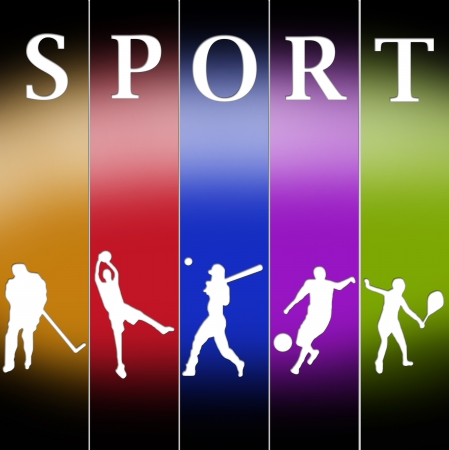 Sports templates in different colors poses photo