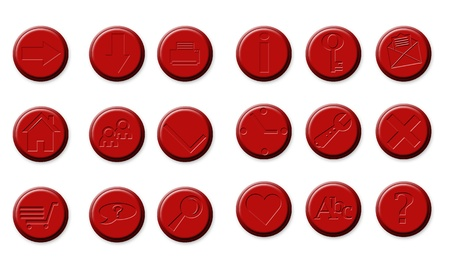 button set of icons in red isolated Stock Photo - 18115835