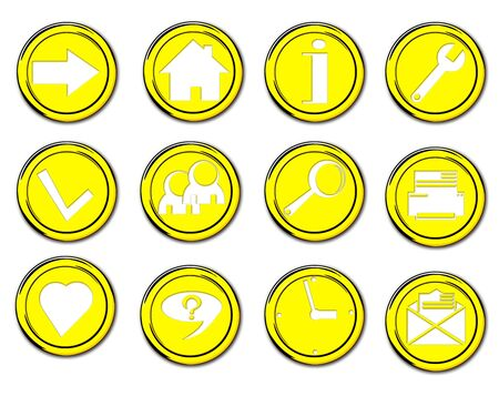 collection of various buttons icons yellow isolated Stock Photo - 18115839