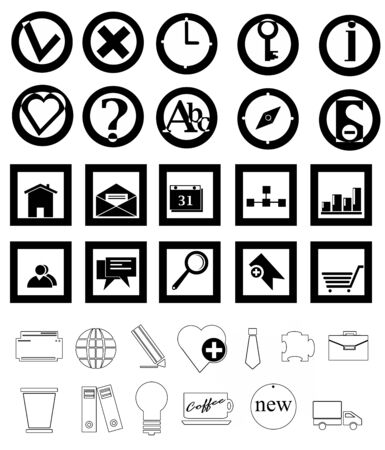 Black icons on isolated white background Stock Photo - 18345648