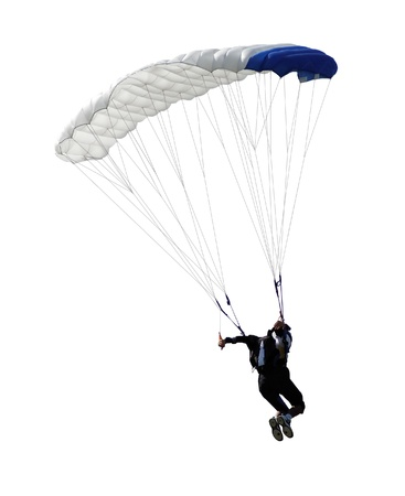 parachute jump: paratrooper parachute jump in isolated Stock Photo