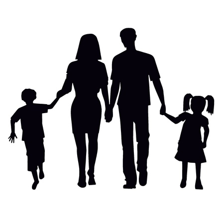 family for a walk in the collection vector illustration Vector